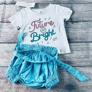 NWT Peek Graphic SS tee + High waist bloomer 0-3m